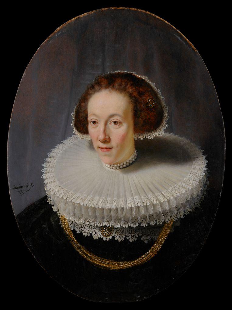 Rembrandt, Portret van Petronella Buijs, 1635. Paneel, 79,5 x 56,3 cm, New York, The Leiden Collection.  Beeld *