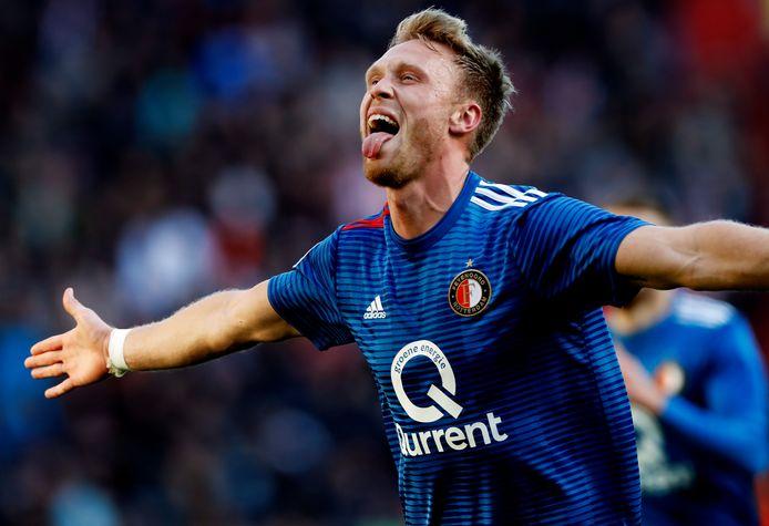 Nicolai Jørgensen juicht na de 0-1.