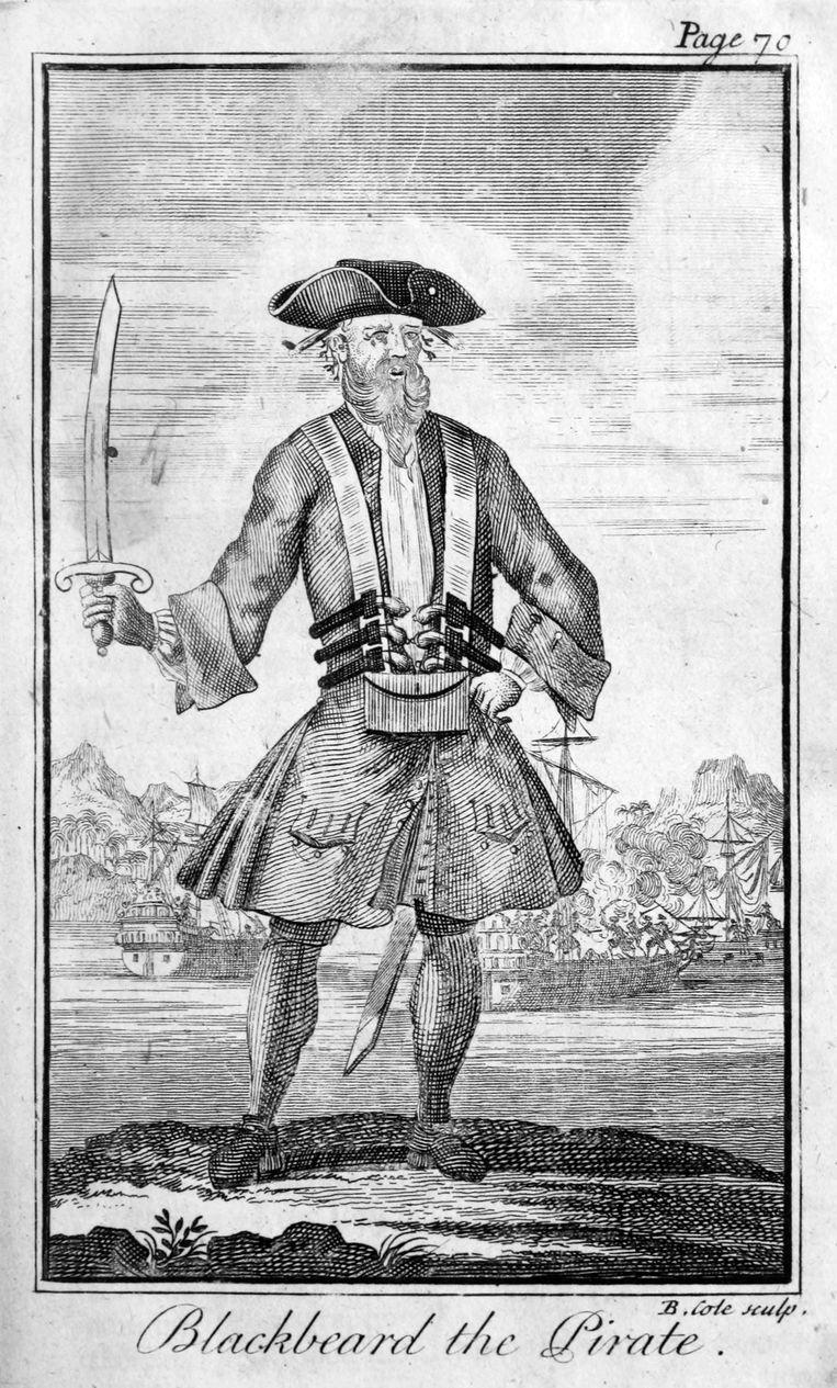Zwartbaard zoals hij staat afgebeeld in 'A General History of the Pyrates'.