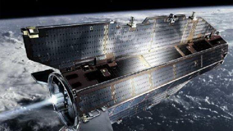Een impressie van de GOCE-stalliet, die de komende twee jaar rondjes om de aarde zal vliegen. (AFP) Beeld