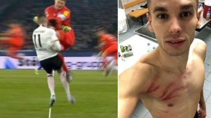 Duitse doelman pakt schandelijk rood met karatetrap