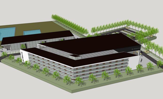 Impressie van het nieuwe hotel aan de Binnentuin  in Rucphen, op de plek van zwembad De Vijfsprong