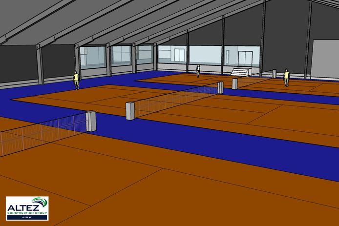 Het interieur van de nieuwe tennishal