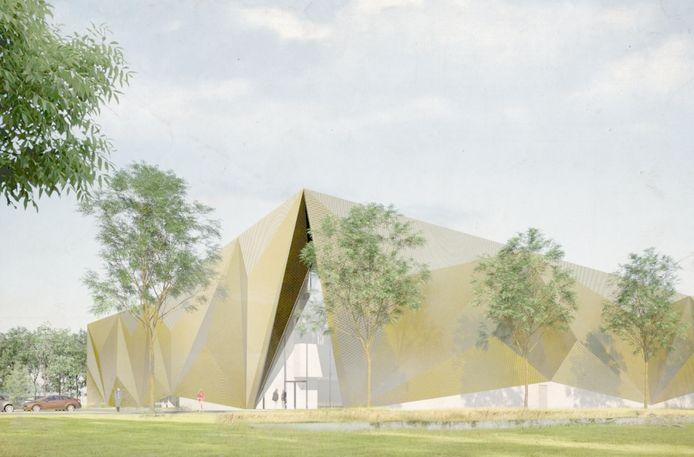 Een artist impression van de nieuwbouw van de Koninklijke Nederlandse Munt in Houten.
