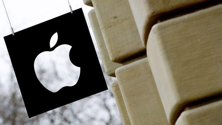 Het logo van de Apple Store in Amsterdam. Beeld anp