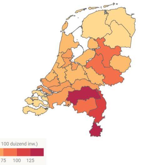 Sterfte in Zuid-Nederland door corona tijdens eerste golf acht keer hoger dan in noorden van het land
