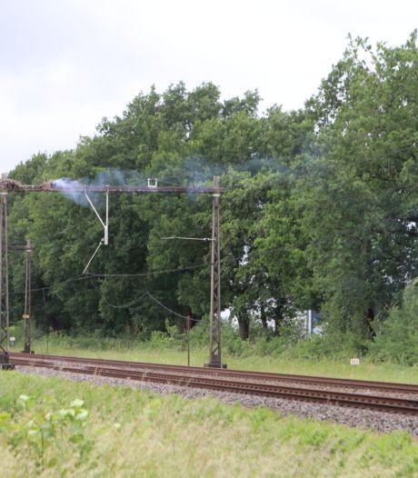 Rokend ooievaarsnest bij Barneveld legt treinverkeer tussen Amersfoort en Apeldoorn urenlang plat