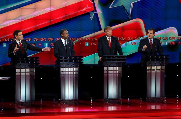 Republikeinse presidentskandidaten senator Marco Rubio, Ben Carson, Donald Trump en senator Ted Cruz Beeld afp