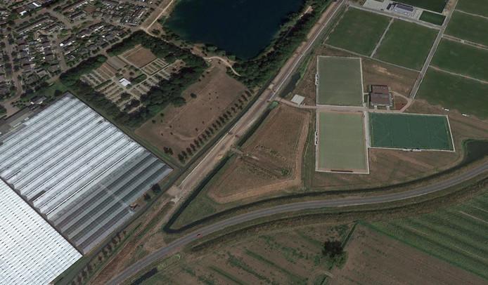 De punt van sportpark De Watertoren waar Jeu de Bommel een nieuwe plek krijgt.