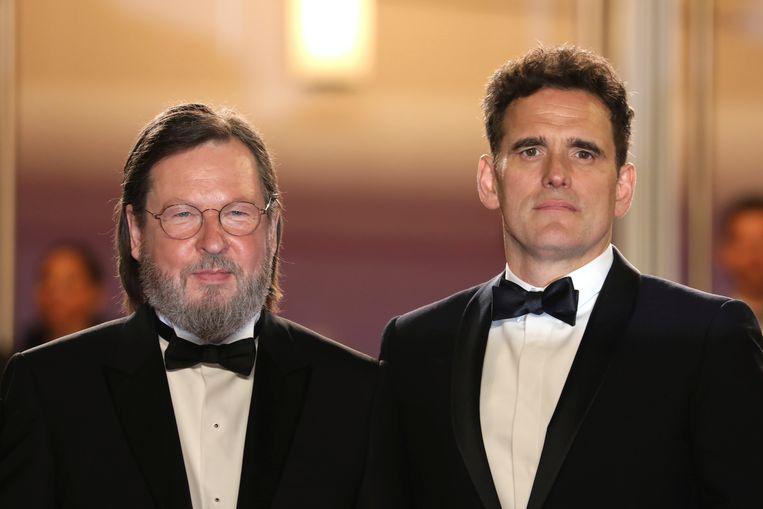 Lars von Trier en hoofdrolspeler Matt Dillon zakten samen af naar Cannes voor de screening van 'The House That Jack Built'.