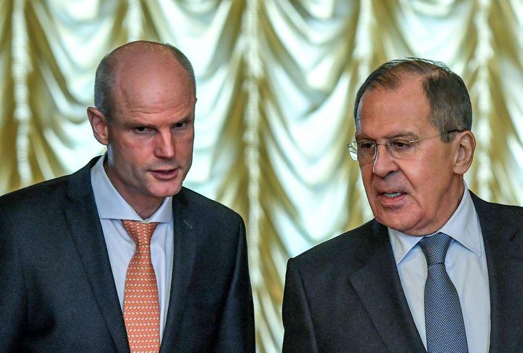 Minister van buitenlandse zaken Stef Blok is aangekomen in Moskou voor een ontmoeting met zijn Russische collega Sergei Lavrov.  Beeld AFP
