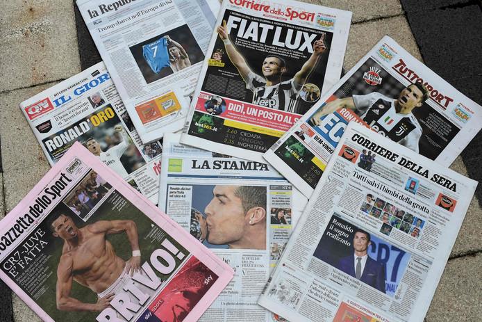 De Italiaanse kranten na het nieuws rond Ronaldo.