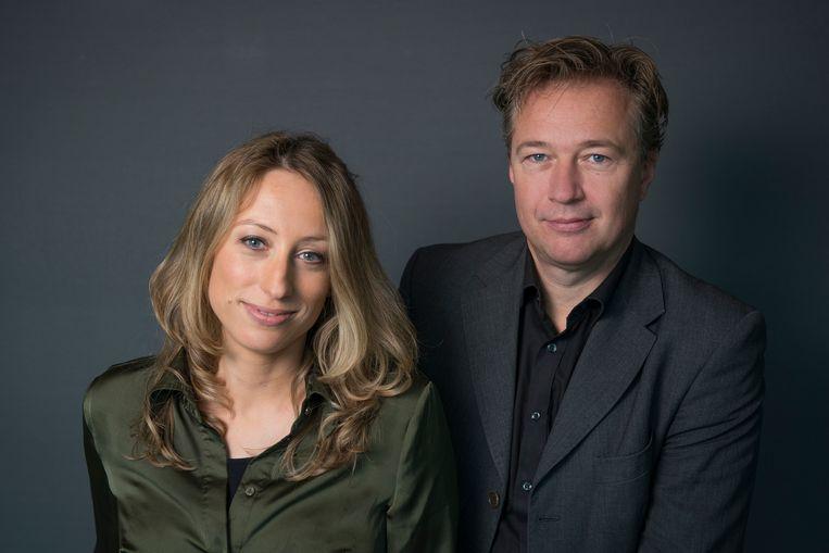 Carolina Lo Galbo en Jeroen van Kan van 'VPRO Boeken'. Tjitske Mussche verving in de afgelopen maanden Van Kan. Beeld Trouw