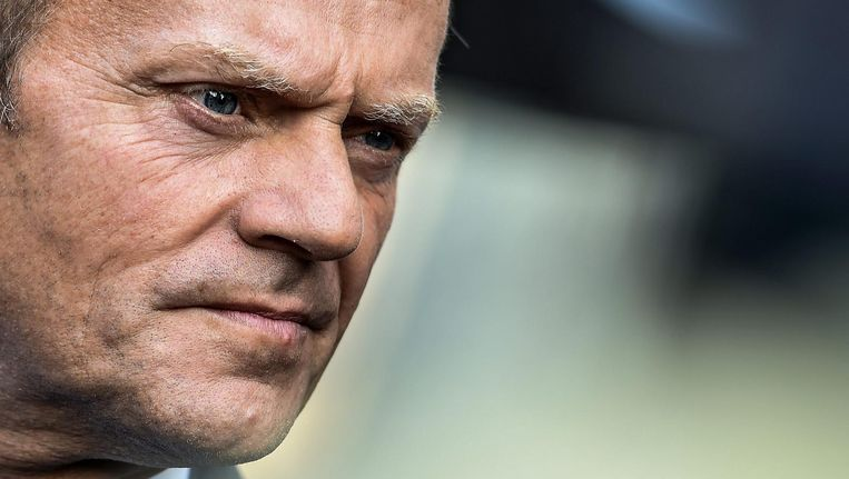 'Donald Tusk roept op tot Europese trots: united we stand, divided we fall.' Beeld epa