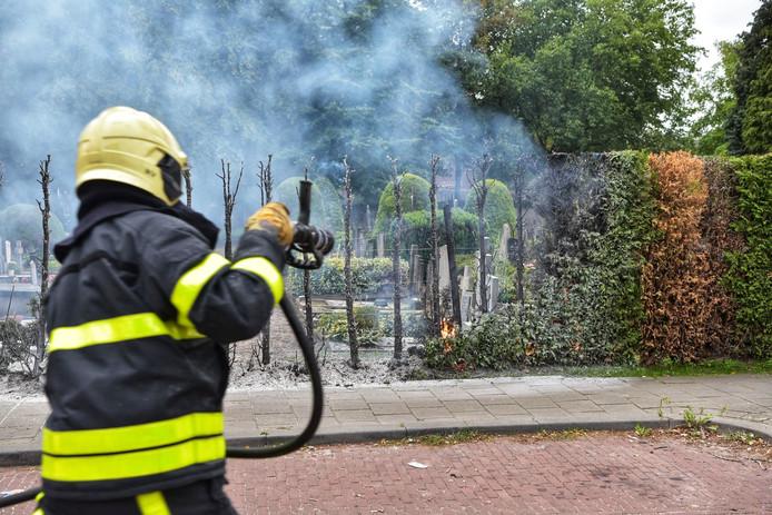 De brandweer heeft de heg geblust.