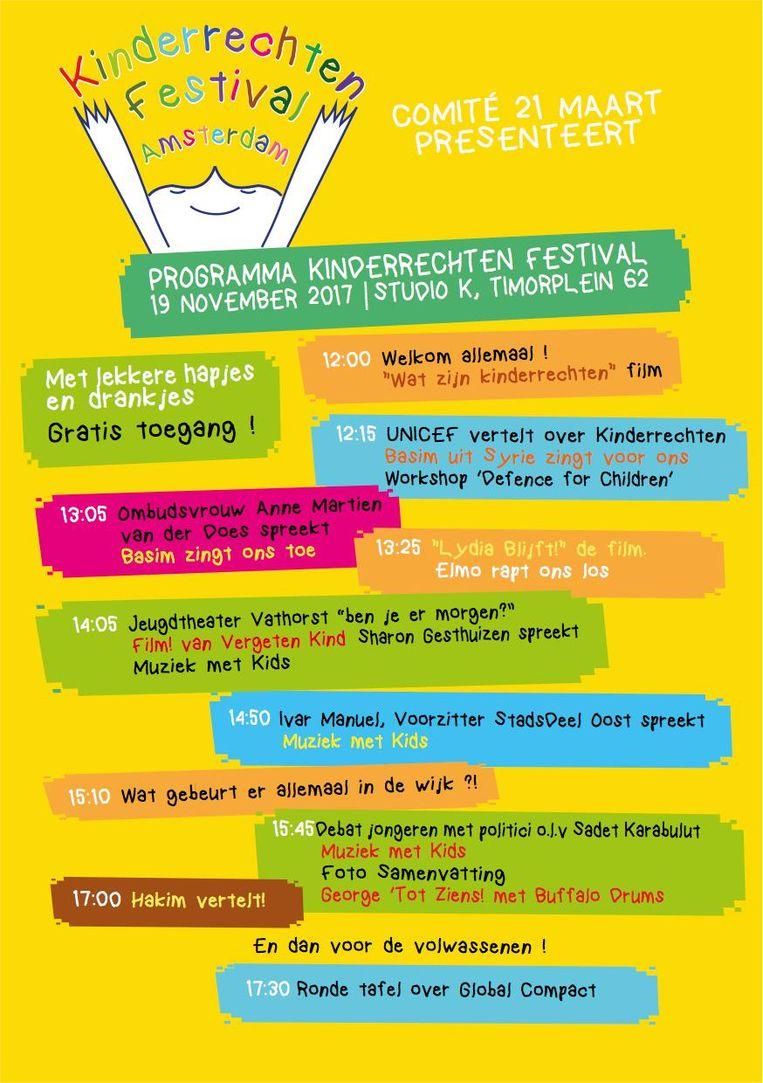 Het programma van het Kinderrechten festival Amsterdam Beeld Comité 21 maart