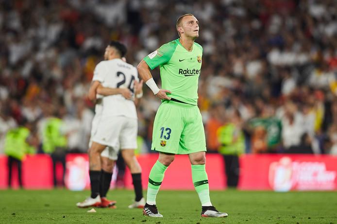 Jasper Cillessen in de bekerfinale die hij vorige maand met Barcelona met 2-1 verloor van Valencia.