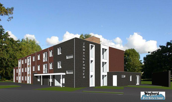 Artist impression van het toekomstige woonzorgcentrum