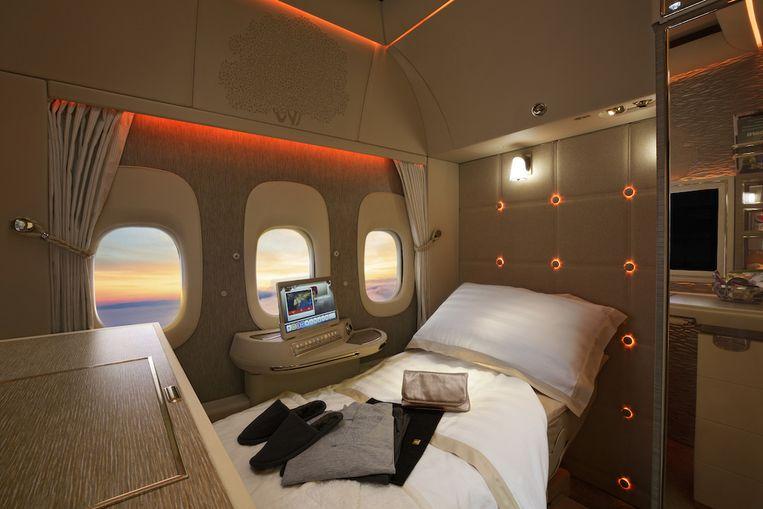 Elke suite kan omgevormd worden tot een comfortabele slaapkamer hoog in de lucht.