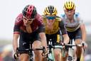 Geraint Thomas, Steven Kruijswijk en Alejandro Valverde tijdens de etappe van gisteren.