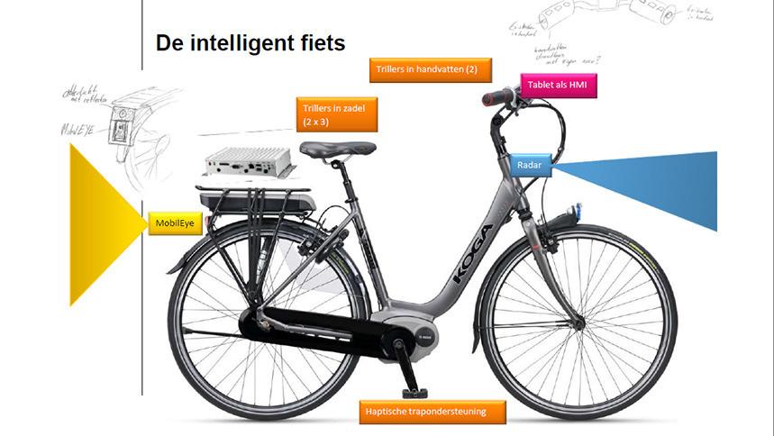 De intelligente fiets van TNO heeft allerlei technische snufjes.