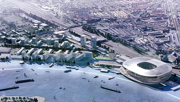 Het plan voor Feyenoord City van Rem Koolhaas.