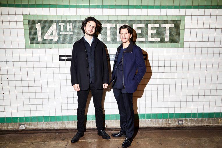 Uitgever Ernst-Jan Pfauth en hoofdredacteur Rob Wijnberg in New York. Beeld Amy Lombard