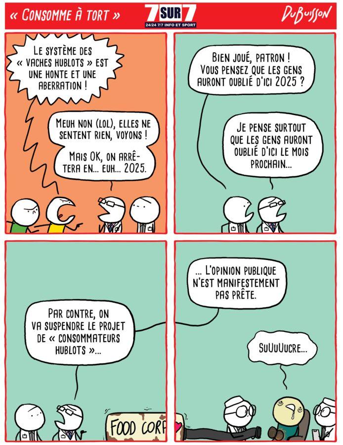 """""""Consomme à tort"""": la polémique sur les """"vaches à hublot"""" vue par Marc Dubuisson."""