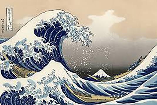 Het Japanse kunstwerk Great Wave Off Kanagawa waar een van Andrea's creaties op geïnspireerd is.