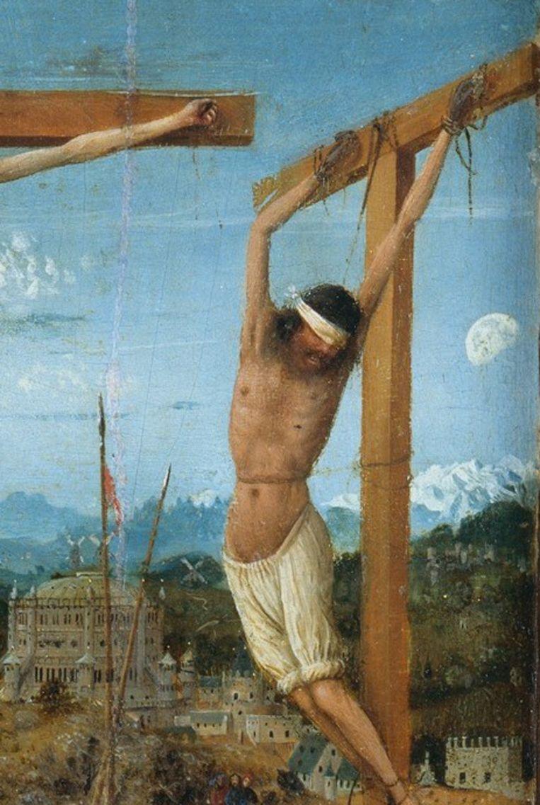 Uitsnede Kruisiging van Christus door Jan van Eyck. Beeld Jan van Eyck