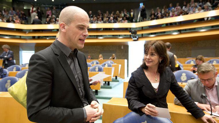 PvdA-fractievoorzitter Diederik Samsom en GroenLinks-fractievoorzitter Jolande Sap. Beeld ANP