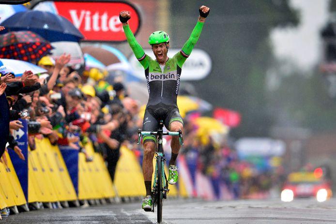 Boom schreeuwt het uit na het winnen van de kasseienrit in de Tour 2014.