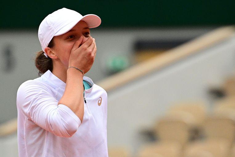 Iga Swiatek is de jongste winnares op Roland Garros sinds Monica Seles in 1992. Beeld AFP