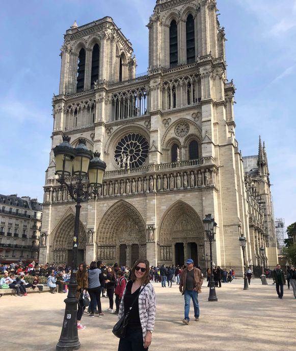 Silke kon gisteren nog even voor de brand uitbrak de Notre Dame bezoeken.