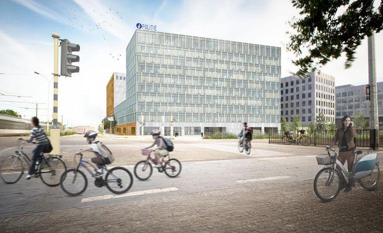 Het toekomstige hoofdkwartier van de Antwerpse politie op de site Post X in Berchem.