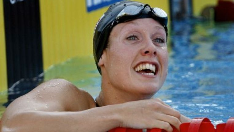 Moniek Nijhuis heeft het nationaal record op de 200 meter schoolslag verbeterd. Foto ANP Beeld