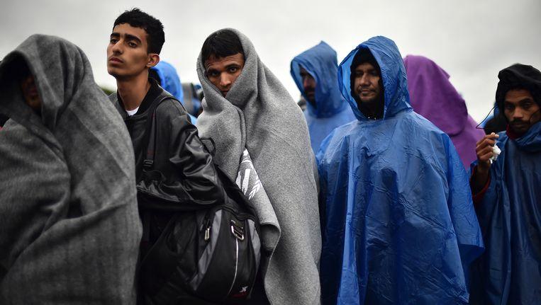 Migranten wachten in de regen bij de grensovergang in het Kroatische Trnovec, dicht bij de grens met Slovenië. Beeld getty