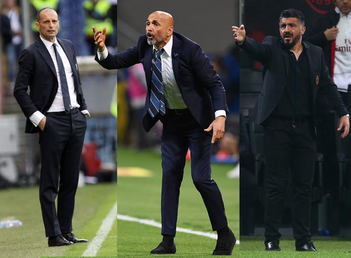 Massimiliano Allegri (Juventus), Luciano Spalletti (Internazionale) en Gennaro Gattuso (AC Milan).