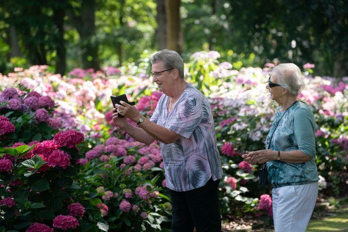 Bezoekers genieten van de bloemen.