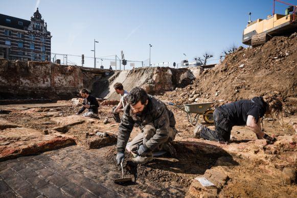 De archeologische werken waar binnenkort het nieuwbouwproject Sanderspoort komt