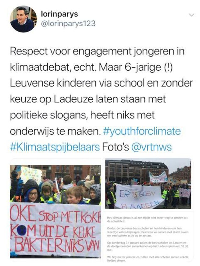 Tweet van Lorin Parys (N-VA) over de klimaatactie van de Leuvense basisscholen.