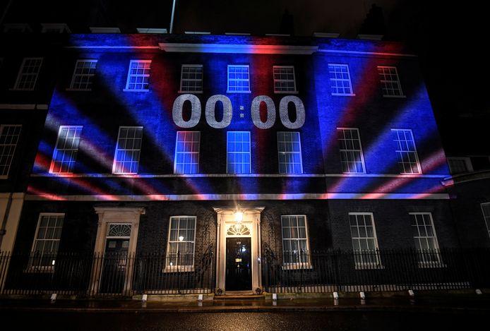 Een aftelklok op Downing Street 10 op 31 januari 2020.