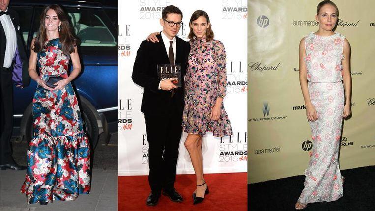 Kate Middleton, Alexa Chung met de ontwerper en Sienna Miller, allemaal in een jurk van Erdem.