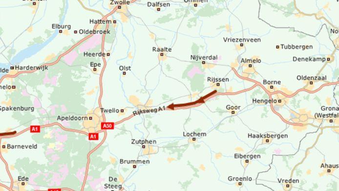 De file tussen Hengelo en Apeldoorn.