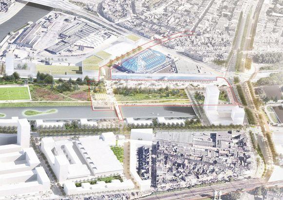 Zo zou de omgeving van het Sportpaleis er met de gedeeltelijke overkapping uit gaan zien.