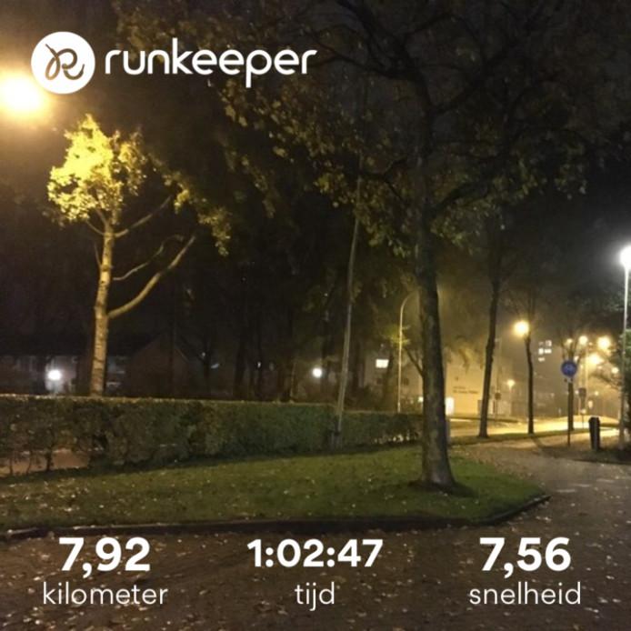 De twee keer 400 meter wandelen aan het begin en einde zijn hier nog bij gerekend. In totaal heb ik dus een ronde van 7.22 kilometer gejogd.