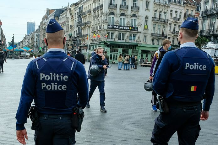 Illustratiefoto: coronapatrouille in Brussel.