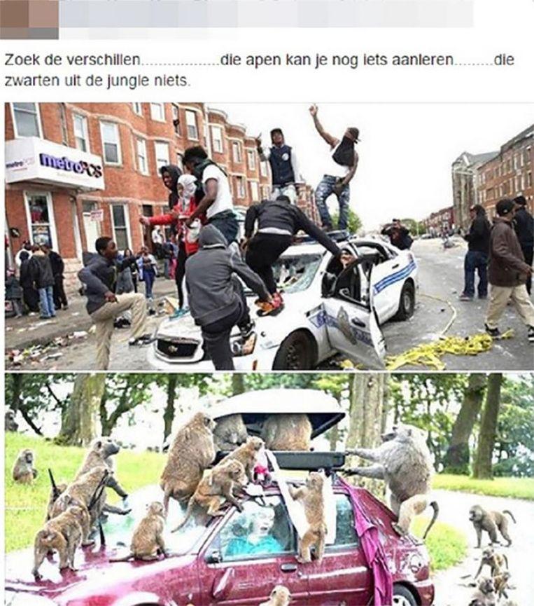 De agent (52) zette in augustus 2015 deze foto's met bijhorende racistische praat op zijn facebookpagina.