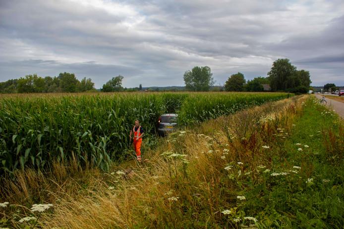 De auto kwam na een meter of twintig tot stilstand in het maisveld.