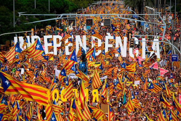 Een onafhankelijkheidsdemonstratie in Barcelona vorig jaar